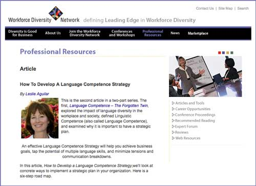 "Workforce Diversity Network Article titled ""How to Develop a Language Competence Strategy"" by Leslie Aguilar"