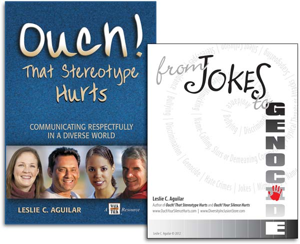 "Covers for ""Ouch! That Stereotype Hurts"" Book and ""From Jokes to Genocide"" ePublication"