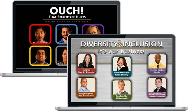 "Two laptop showing screens for ""Ouch! That Stereotype Hurts"" and ""Diversity & Inclusion: It's Our Business"""