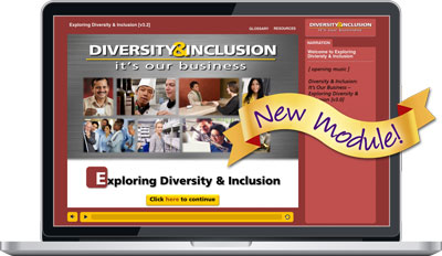 "Laptop screen showing New ""Exploring Diversity & Inclusion"" Module from ""Diversity & Inclusion: It's Our Business"""