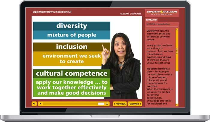 "Laptop with sample screen with definitions for diversity, inclusion, and cultural competence (Module 1: ""Exploring Diversity & Inclusion"")"