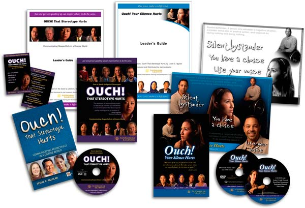 """Ouch! That Stereotype Hurts"" Series Packages showing Book, DVDs, CDs, Reminder Cards, Leader's Guides, Posters and Leader's Guides"