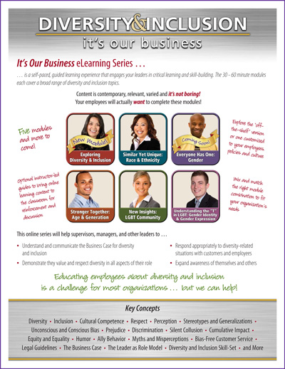 """Diversity & Inclusion: It's Our Business"" Online Learning Experience Flyer"