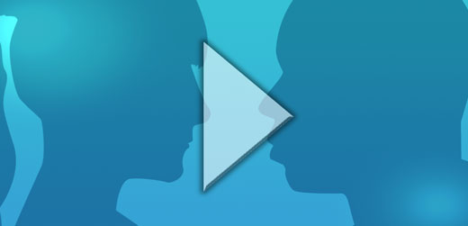 Blue rectangle with female and male silhouetted heads (depicting facilitation)