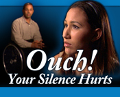 "Blue rectangle with ""Ouch! Your Silence Hurts"" text and Hispanic woman and African-American man in wheelchair in background"