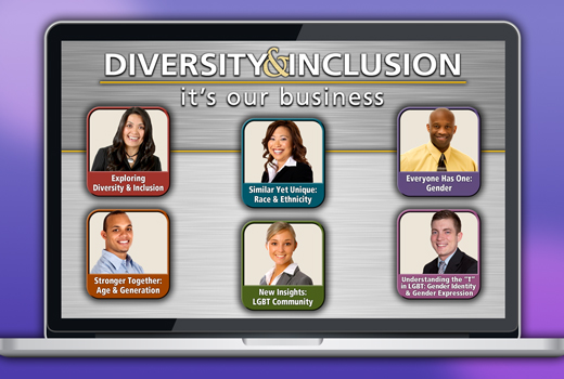 Laptop screen showing eLearning program titled Diversity & Inclusion: It's Our Business