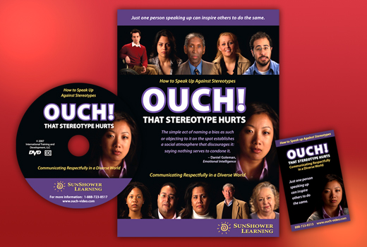 Red rectangle with Ouch! That Stereotype Hurts DVD cover, CD label and a reminder card