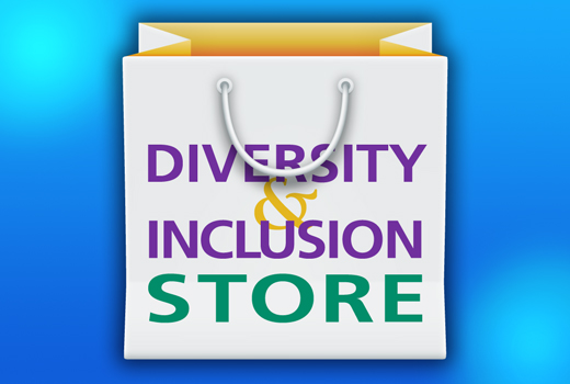 White and yellow shopping bag that reads DIVERSITY & INCLUSION STORE