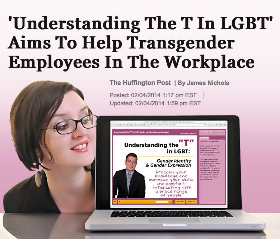 "Woman peeking at laptop showing ""Understanding The 'T' in LGBT"" Aims To Help Transgender Employees in the Workplace"" (Huffington Post Article)"