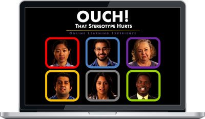 "Laptop screen showing ""Ouch! That Stereotype Hurts"" Online Learning Experience"
