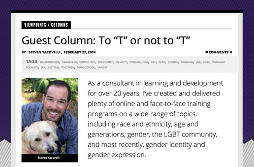 "Dr. Steve Yacovelli's ""Understanding the 'T' in LGBT: Gender Identity and Gender Expression"" on Watermarkonline.com"