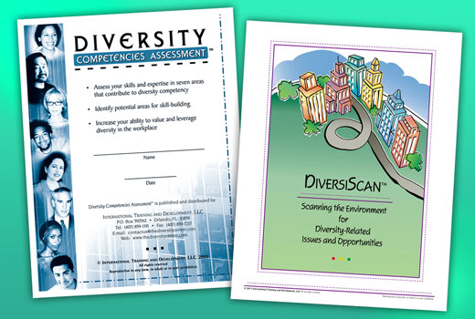 Green rectangle with covers for Diversity Competencies Assessment and DiversiScan Scanning the Environment for Diversity-Related Issues and Opportunities