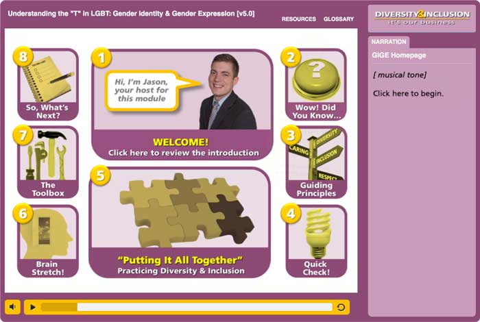 "Sample screen from ""Understanding The 'T' in LGBT"" Module from ""Diversity & Inclusion: It's Our Business"" eLearning"