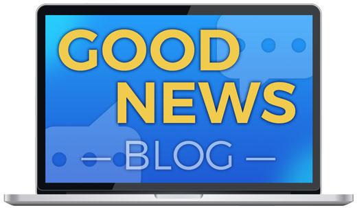 """Blue laptop screen that reads """"GOOD NEWS BLOG"""""""