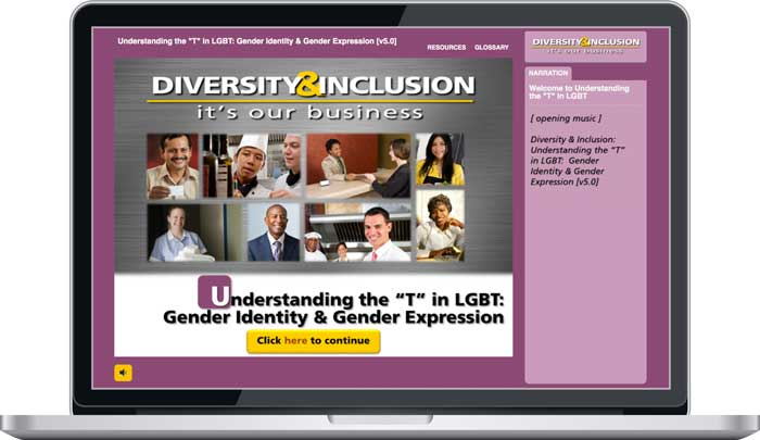 "Intro screen from ""Understanding The 'T' in LGBT"" Module from ""Diversity & Inclusion: It's Our Business"" eLearning"