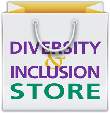"White and yellow shopping bag that reads ""DIVERSITY & INCLUSION STORE"""