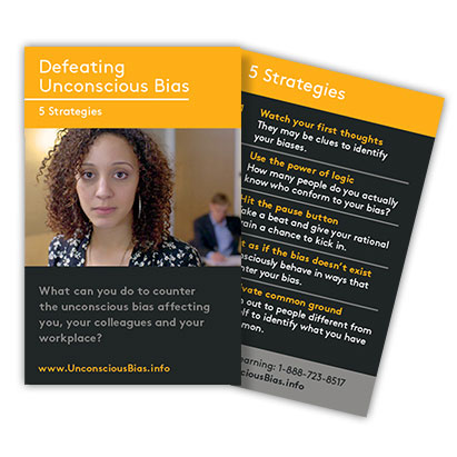 "Front and Back of ""Defeating Unconscious Bias"" Reminder Cards"
