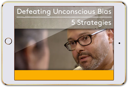 "Mobile device with screen that reads ""Defeating Unconscious Bias 5 Strategies"" (streaming licenses)"