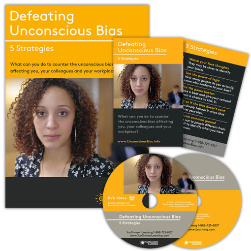 """Defeating Unconscious Bias"" Package showing DVD Cover and Disc and Reminder Cards"