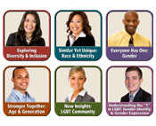 "Narrators with titles from each of the six modules in ""Diversity & Inclusion: It's Our Business"" eLearning Program"