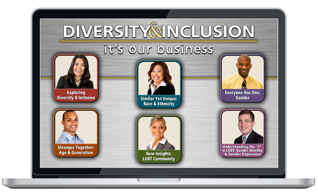 "Laptop screen showing ""Diversity & Inclusion: It's Our Business"" eLearning Program"