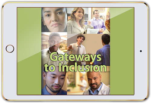 "Mobile device with screen that reads ""Gateways to Inclusion"" (streaming licenses)"