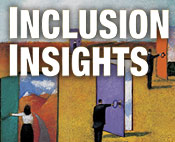 "Rectangle with ""Inclusion Insights"" written above a portion of the cover from the video"