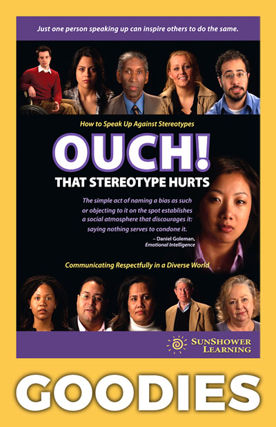 "Cover of ""Ouch! That Stereotype Hurts"" DVD inside a yellow rectangle with ""GOODIES"" written underneath"