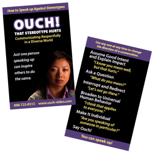 "Two reminder cards for ""Ouch! That Stereotype Hurts"" with the six steps for speaking up against stereotypes"