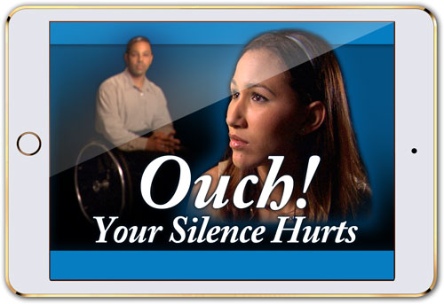 "Mobile device with screen that reads ""Ouch! Your Silence Hurts"" (streaming licenses)"