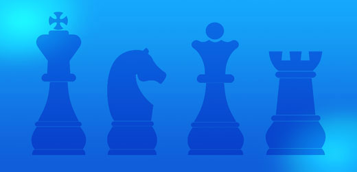 Blue rectangle with four chess pieces (depicting Consulting)