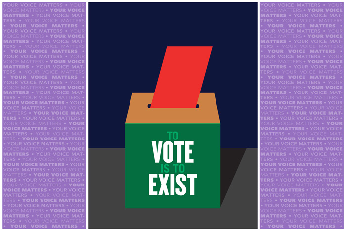 """To Vote is to Exist"" poster by Milton Glaser for AIGA Get Out the Vote"