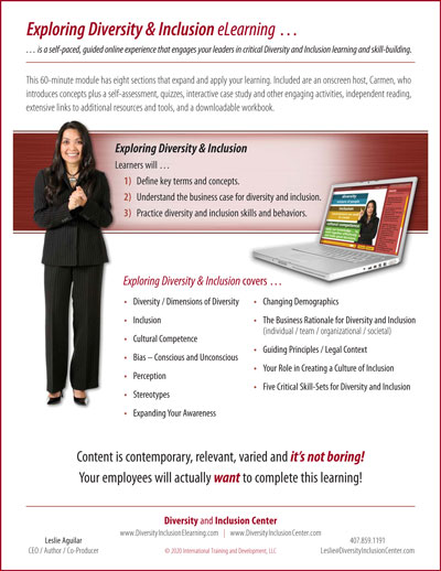 """""""Exploring Diversity & Inclusion"""" eLearning Flyer"""