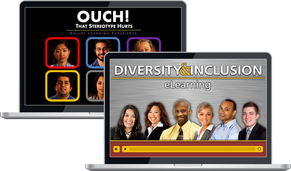 "Two laptops showing screens for ""Ouch! That Stereotype Hurts"" and ""Diversity & Inclusion eLearning"""