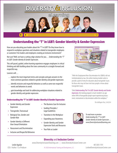 """""""Understanding the 'T' in LGBT: Gender Identity and Gender Expression"""" eLearning Flyer"""