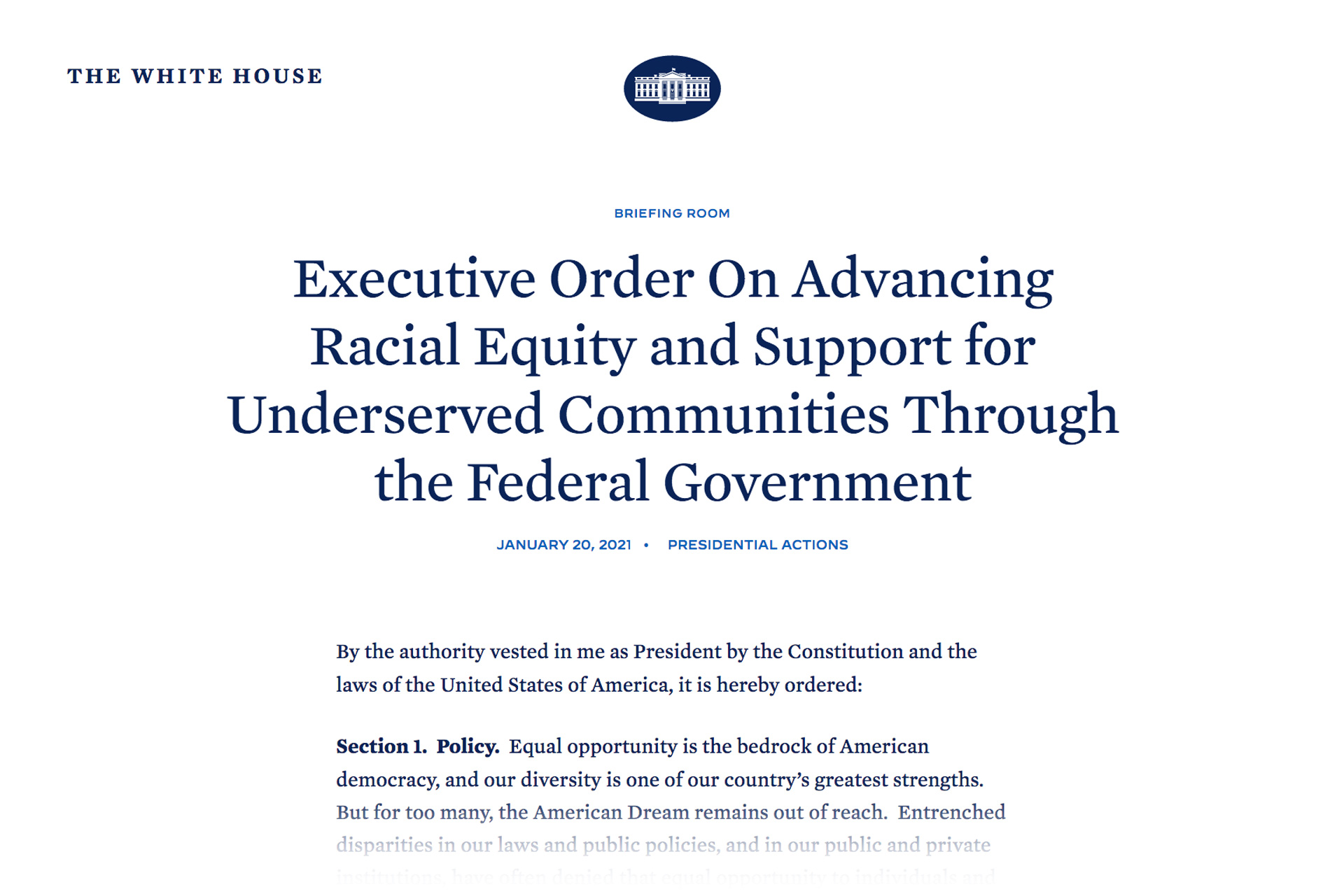 Executive Order On Advancing Racial Equity and Support for Underserved Communities Through the Federal Government